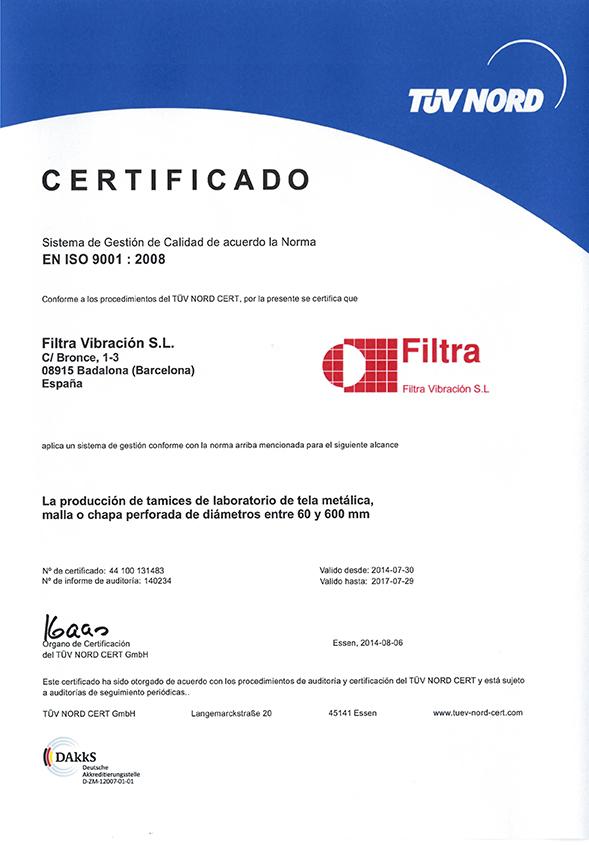 Certificado ISO9001 Filtra ES